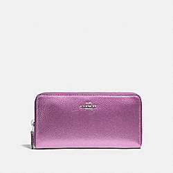 COACH F20145 Accordion Zip Wallet SILVER/METALLIC LILAC