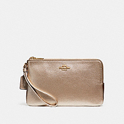COACH F20146 Double Zip Wallet LIGHT GOLD/PLATINUM