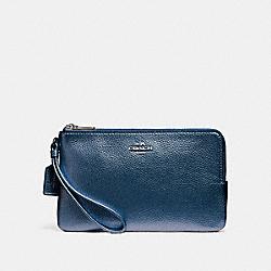 COACH F20146 Double Zip Wallet SILVER/METALLIC NAVY