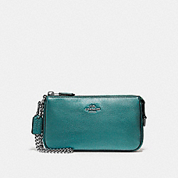 LARGE WRISTLET 19 IN METALLIC PEBBLE LEATHER - f20151 - BLACK ANTIQUE NICKEL/METALLIC DARK TEAL