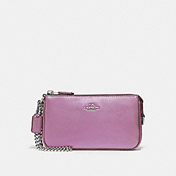 COACH F20151 Large Wristlet 19 In Metallic Pebble Leather SILVER/METALLIC LILAC