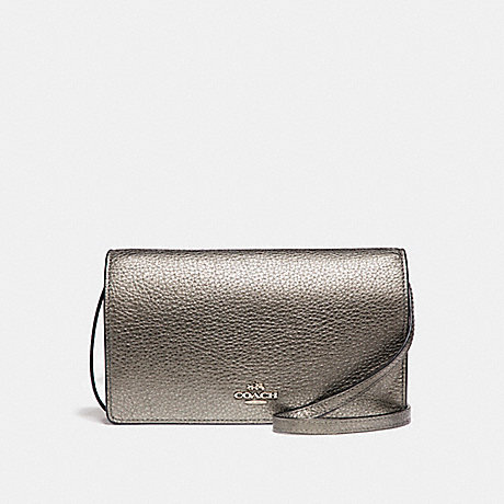 COACH f20152 FOLDOVER CLUTCH CROSSBODY IN METALLIC PEBBLE LEATHER SILVER/GUNMETAL