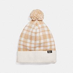 COACH F20156 Plain Pom Pom Hat CARAMEL