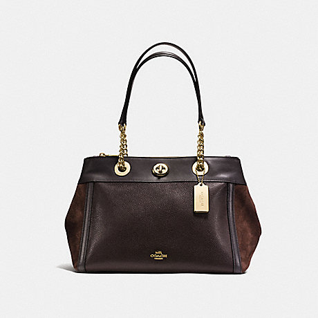 COACH f20165 TURNLOCK EDIE CARRYALL CHESTNUT/LIGHT GOLD
