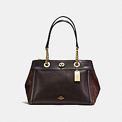 TURNLOCK EDIE CARRYALL - f20165 - CHESTNUT/LIGHT GOLD