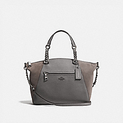 CHAIN PRAIRIE SATCHEL - f20166 - HEATHER GREY/DARK GUNMETAL