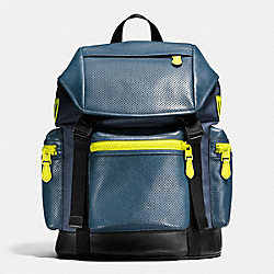 COACH F20467 - TERRAIN TREK PACK IN PERFORATED MIXED MATERIALS BLACK ANTIQUE NICKEL/DK DENIM/BLK/BRIGHT YELLOW