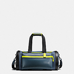 TERRAIN GYM BAG IN PERFORATED MIXED MATERIALS - f20468 - BLACK ANTIQUE NICKEL/DK DENIM/BLK/BRIGHT YELLOW