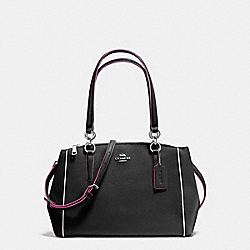 COACH F20476 - SMALL CHRISTIE CARRYALL IN CROSSGRAIN LEATHER WITH MULTI EDGEPAINT SILVER/BLACK MULTI