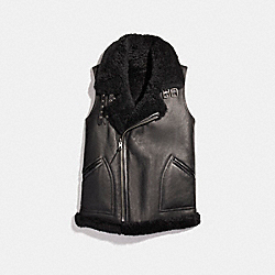REVERSIBLE SHEARLING VEST - f20480 - BLACK/BLACK
