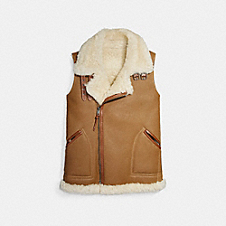 COACH F20480 Reversible Shearling Vest NATURAL