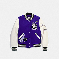 COACH F20495 Waverly Varsity Jacket PURPLE