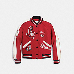 COACH F20496 Chelsea Varsity Jacket RED