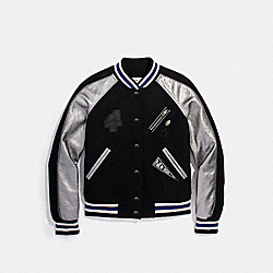 COACH F20498 Bowery Varsity Jacket BLACK/GUNMETAL