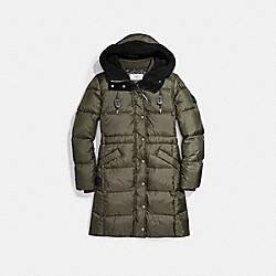 COACH F20500 Solid Long Puffer RAINFOREST