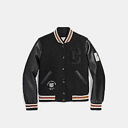 COACH F20828 Varsity Jacket BLACK/BLACK