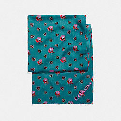 WESTERN FLOWER PRINTED OBLONG - f20880 - DARK TEAL