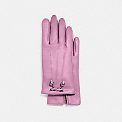 COACH TEA ROSE BOW LEATHER GLOVE - LILAC - F20887