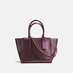 CROSBY CARRYALL IN NATURAL REFINED LEATHER WITH PYTHON EMBOSSED LEATHER TRIM - f20896 - BLACK ANTIQUE NICKEL/OXBLOOD MULTI