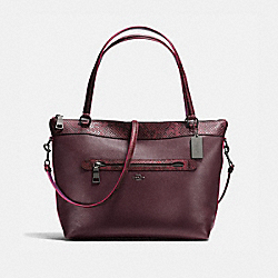 TYLER TOTE IN POLISHED PEBBLE LEATHER WITH PYTHON-EMBOSSED LEATHER TRIM - f20898 - BLACK ANTIQUE NICKEL/OXBLOOD MULTI