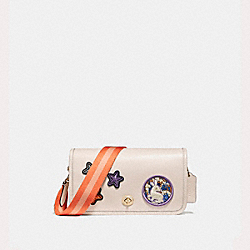 PENNY CROSSBODY IN REFINED CALF LEATHER WITH VARSITY PATCHES AND WEBBED STRAP - f20913 - LIGHT GOLD/CHALK