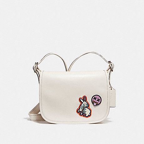 COACH f20914 PATRICIA SADDLE 23 IN REFINED CALF LEATHER WITH VARSITY PATCHES LIGHT GOLD/CHALK