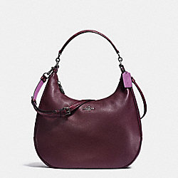 EAST/WEST HARLEY HOBO IN POLISHED PEBBLE LEATHER WITH PYTHON EMBOSSED LEATHER TRIM - f20917 - BLACK ANTIQUE NICKEL/OXBLOOD MULTI