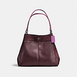 LEXY SHOULDER BAG IN POLISHED PEBBLE LEATHER WITH PYTOHN EMBOSSED LEATHER TRIM - f20919 - BLACK ANTIQUE NICKEL/OXBLOOD MULTI