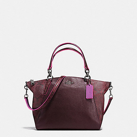 COACH F20923 SMALL KELSEY SATCHEL IN REFINED NATURAL PEBBLE LEATHER WITH PYTHON EMBOSSED LEATHER BLACK-ANTIQUE-NICKEL/OXBLOOD-MULTI