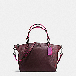 SMALL KELSEY SATCHEL IN REFINED NATURAL PEBBLE LEATHER WITH PYTHON EMBOSSED LEATHER - f20923 - BLACK ANTIQUE NICKEL/OXBLOOD MULTI