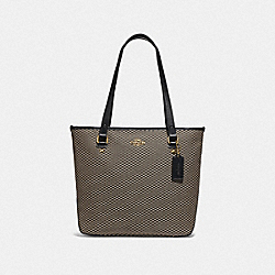 COACH F20936 - ZIP TOP TOTE WITH LEGACY PRINT MILK/BLACK/GOLD