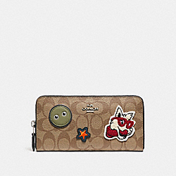 ACCORDION ZIP WALLET IN SIGNATURE COATED CANVAS WITH VARSITY PATCHES - f20967 - SILVER/KHAKI/BLACK
