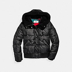 SOLID CAMO SHORT PUFFER - f20975 - BLACK/RED
