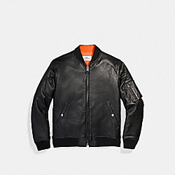 LEATHER MA-1 JACKET - f20992 - BLACK