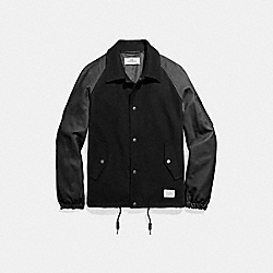 WOOL LEATHER VARSITY COACH JACKET - f20994 - BLACK/BLACK