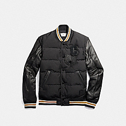 COACH F21007 Down Varsity Jacket BLACK/BLACK