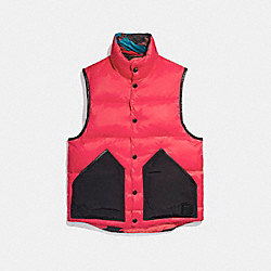 REVERSIBLE DOWN VEST - f21009 - RED