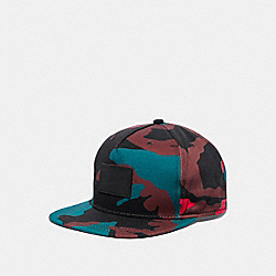 COACH F21012 Camo Flat Brim Hat BLACK/RED CAMO
