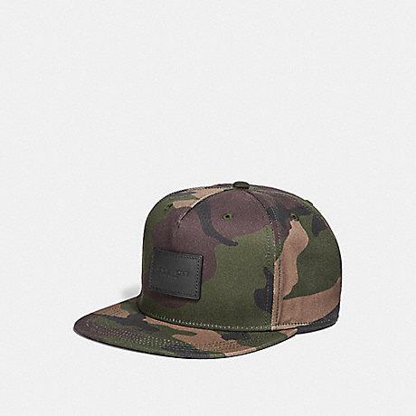 9046398e132 COACH F21012 - CAMO FLAT BRIM HAT - DARK GREEN CAMO