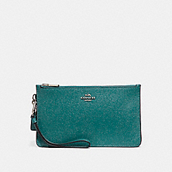 CROSBY CLUTCH IN GLITTER CROSSGRAIN LEATHER - f21020 - SILVER/DARK TEAL