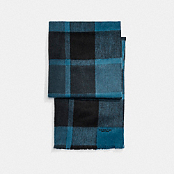 COACH F21055 - CASHMERE BLEND BIG PLAID SCARF NAVY