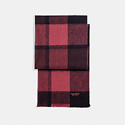 COACH F21055 - CASHMERE BLEND BIG PLAID SCARF BLACK/OXBLOOD/CRANBERRY