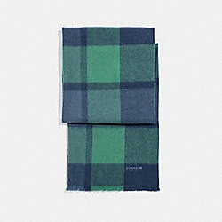 COACH F21055 Cashmere Blend Big Plaid Scarf MIDNIGHT NAVY/GREEN/DENIM