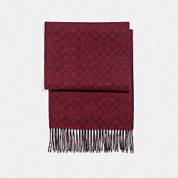 COACH F21056 - CASHMERE BLEND BI-COLOR SIGNATURE SCARF OXBLOOD/CRANBERRY