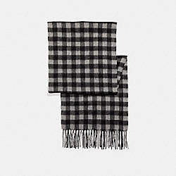 CASHMERE BLEND BUFFALO PLAID SCARF - f21057 - LIGHT GREY