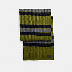 COACH F21058 Varsity Stripe Knit Scarf MILITARY GREEN
