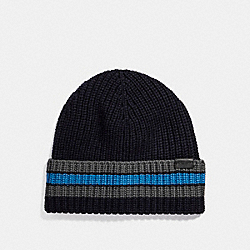 COACH F21060 Varsity Stripe Knit Beanie MIDNIGHT NAVY