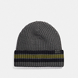 COACH F21060 Varsity Stripe Knit Beanie MATTE NICKEL