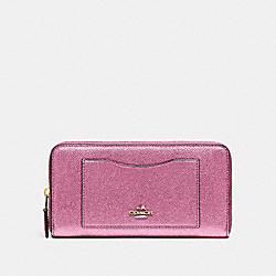 COACH F21068 Accordion Zip Wallet METALLIC ANTIQUE BLUSH/LIGHT GOLD