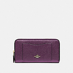 ACCORDION ZIP WALLET - F21068 - METALLIC RASPBERRY/LIGHT GOLD